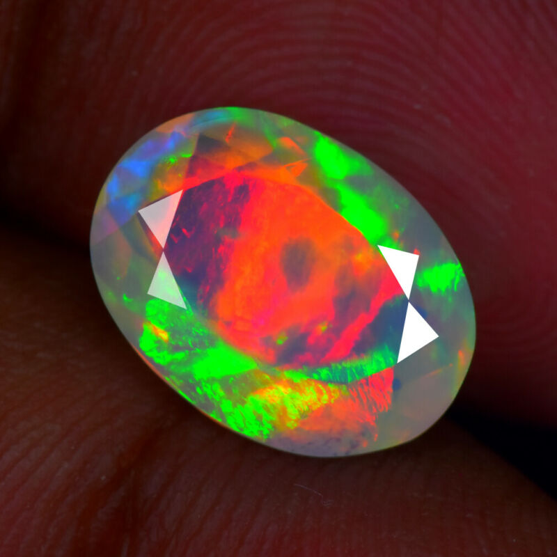 2.52Ct UNIQUE 3D BROAD FLASH PATTERN NATURAL SOLID WELO OPAL GEMSTONE