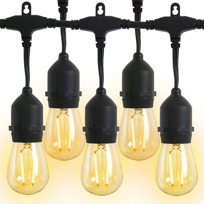 Outdoor String Lights LED 48 FT 15 Hanging Sockets Patio Lights Weatherproof Home & Garden