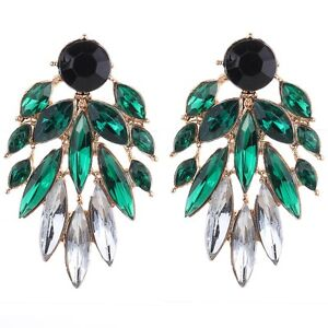 Unique Full Black Round Green White Oval Crystal Crystal Stud Earrings Lady Gift