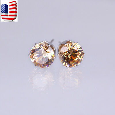 Women Gold Silver Plated  8 mm Round Austrian Crystal stud Earrings Simulate Austrian Crystal