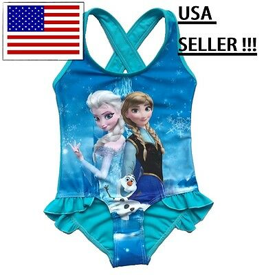 NEW Disney's Frozen Anna Elsa Olaf Snowflake One-Piece Girls Swimsuit  Swimwear](Disney Swimwear Girls)