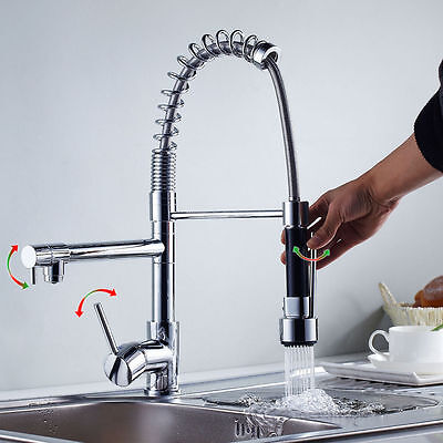 Chrome Kitchen Rotate Spout Single Handle Sink Faucet Pull Down Spray Mixer Tap