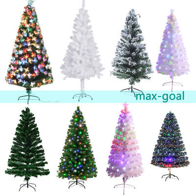 3-8ft Green White Snow Flocked Fiber Optic Artificial PVC Christmas Tree Lot MA