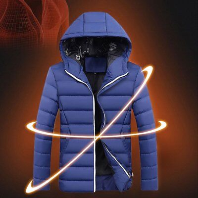 Men's Winter Slim Hoodie Warm Hooded Sweatshirt Blue Coat Jacket Outwear Sweater