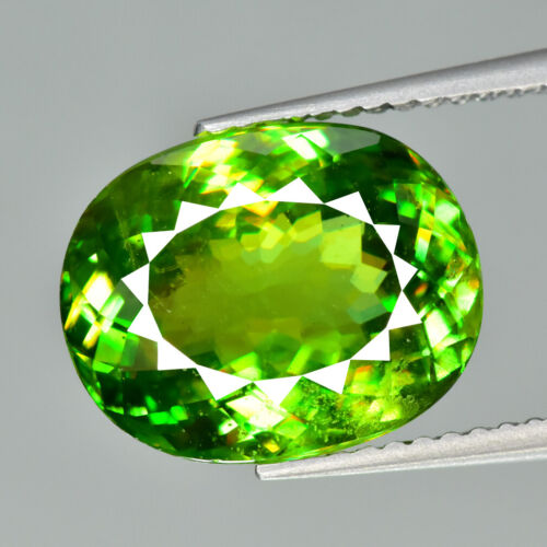 6.67CT EXCELLENT OVAL CUT UNHEATED TITANITE SPHENE from AFGHANISTAN
