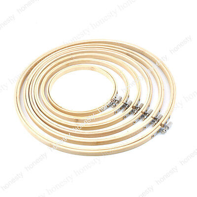 Wooden Cross Stitch Machine Embroidery Hoop Ring Bamboo Sewing 8-33cm (Hand Embroidery Supplies)