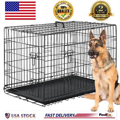 "Extra Large Dog Crate Kennel 48"" Folding Pet Cage Metal 2 Doors Tray Pan XL XXL"