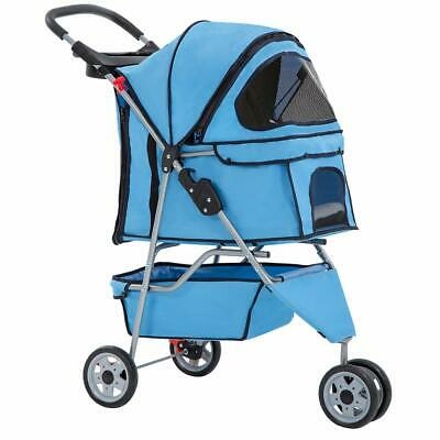 New Blue Pet Stroller Cat Dog Cage 3 Wheels Stroller Travel Folding Carrier