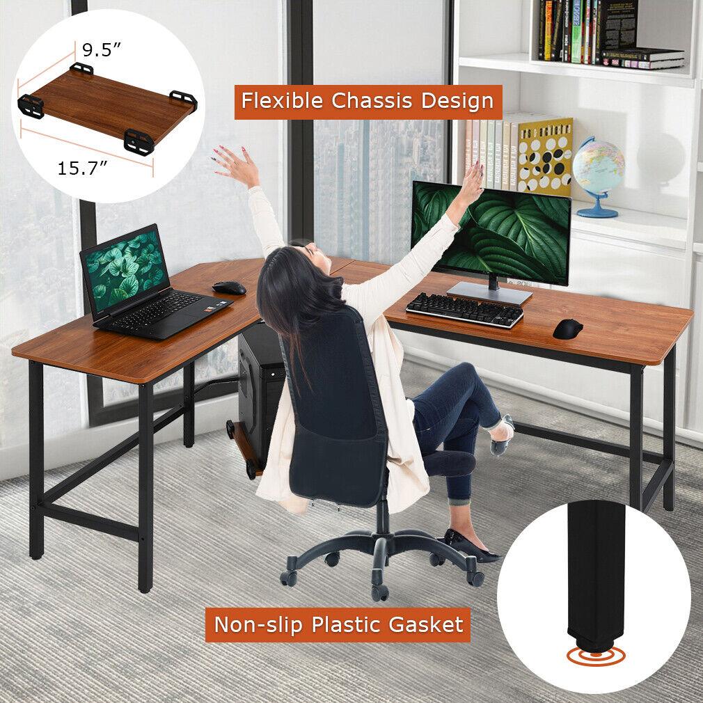 Computer Desk L shaped Desk PC Wood Home Large Work Space Corner Furniture