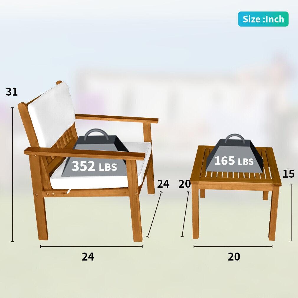 3-Piece Acacia Wood Patio Bistro Set Outdoor Chat Conversation Table Chair Set Home & Garden