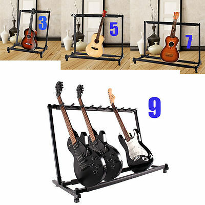 3 5 7 9 Triple Five Seven Multiple Guitar Bass Stand Holder Stage Folding Rack L