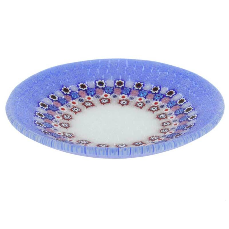 GlassOfVenice Murano Millefiori Round Plate - Periwinkle