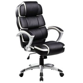 Oypla Luxury Designer Computer Office Chair - Black with White Accents