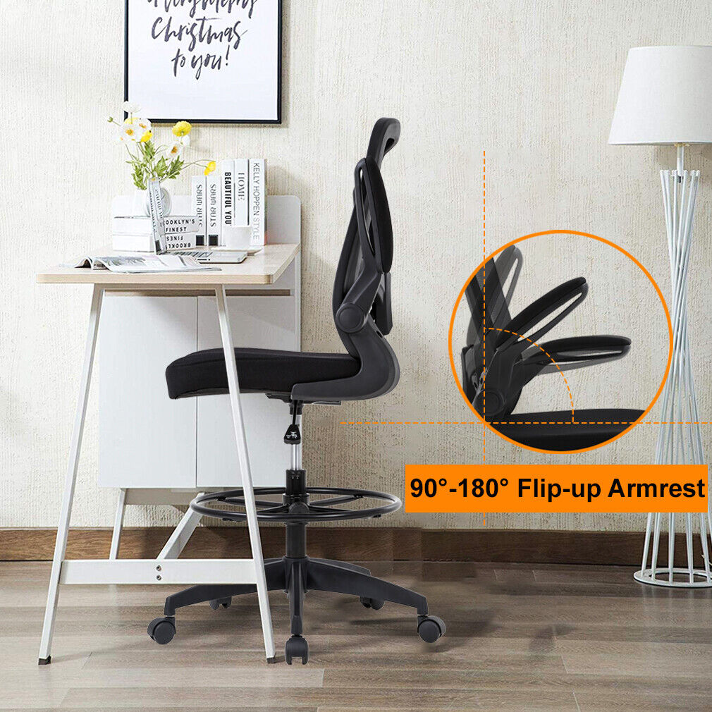 Mesh Drafting Chair Tall Office Chair Drafting Stool with Arms Footrest Chairs