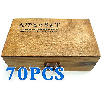 70pcs Rubber Stamps Set Vintage Wooden Box Case Alphabet Letters Number Craft T8