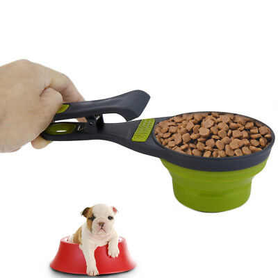 Foldable Silicone Pet Dog Sealing Clip Collapsible Measuring Cup Food Scoop TX