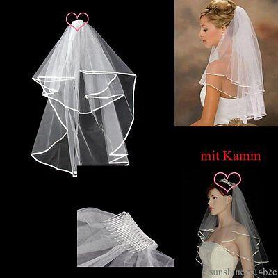 Brautschleier mit Kamm ca.100cm lang Weiß Hochzeit Schleier Tüll NEU**