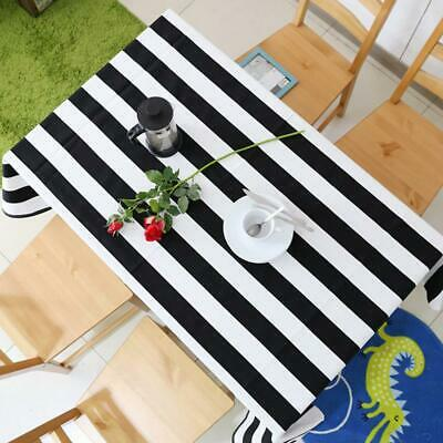Black and White Large Striped Canvas Table Cloth Stripes Kitchen Decoration - Black And White Tablecloth