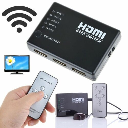 HDMI 5 Port 3D HD Switch Remote Umschalter m. Fernbedienung 1080p HDTV Verteiler