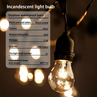 Outdoor String Lights Patio Lights Weatherproof Strand Edison Vintage Bulbs 2 Home & Garden