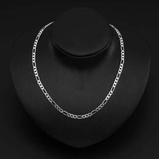 STERLING SILVER FILLED UNISEX 4MM SOLID FIGARO CHAIN 61CM.