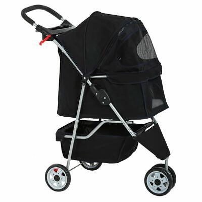 New Black Pet Stroller Cat Dog Cage 3 Wheels Stroller Travel Folding Carrier