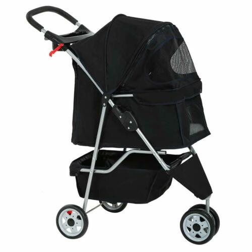 New Black Pet Stroller Cat Dog Cage 3 Wheels Stroller Travel Folding Carrier T13