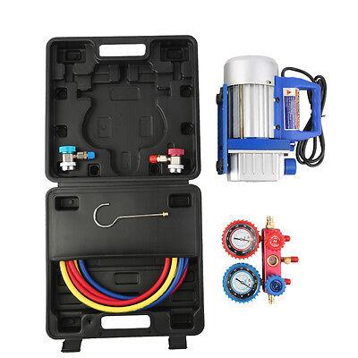 1/4HP 3CFM Vacuum Pump and 4-Way A/C Aluminum Manifold Gauge HVAC Refrigeration