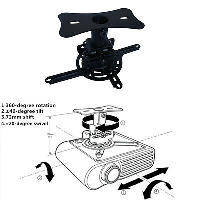 Projector Mount - Universal Ceiling Bracket LCD DLP Tilt 360° Swivel 22lbs Black