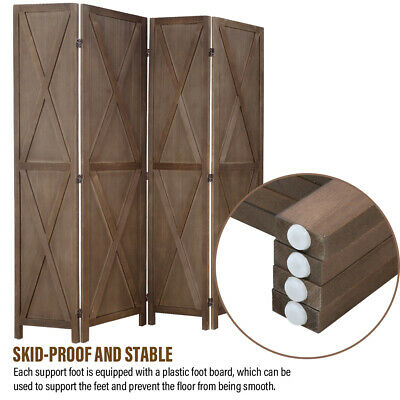 Room Divider 4 Panel Wood Folding Privacy Screen with Country-style Design Furniture