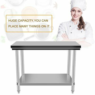 Open Box - Stainless Steel Kitchen Work Prep Table With Backsplash - 24 X 48