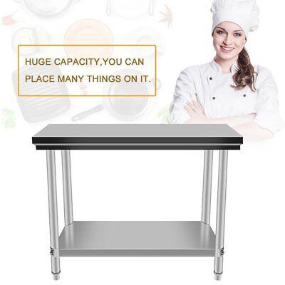 Open Box - Stainless Steel Kitchen Work Prep Table With Backsplash - 24 X 48