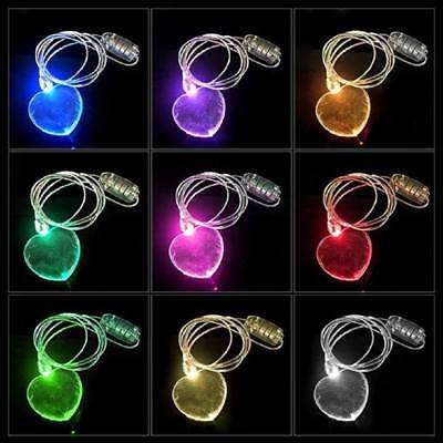 LED Light Up Color Changing Valentines Day Heart Necklace Lanyard Love Pendant   - Light Up Necklace