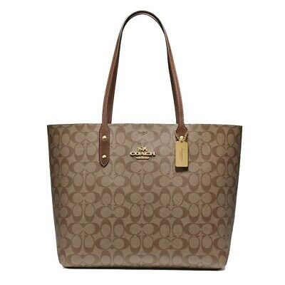 New COACH Town Tote Classic Canvas Shoulder Bag Luxury Khaki Saddle Gold F76636