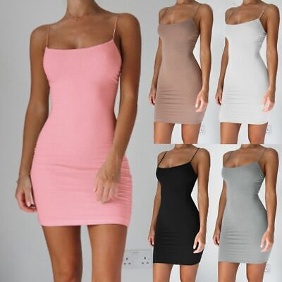 Mini Club Dresses Sexy Women Summer Clothes Solid Sleeveless Casual Slim Bodycon