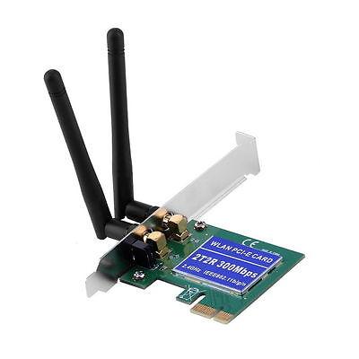 2 Antenna PCI-E 300Mbps 300M 802.11b/g/n Wireless WiFi Card Adapter Desktop PC
