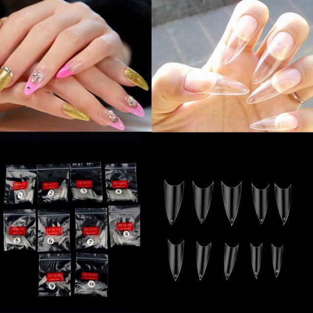 500Pcs Transparent Stiletto Point French Acrylic UV Gel False Nail Tips Fashion