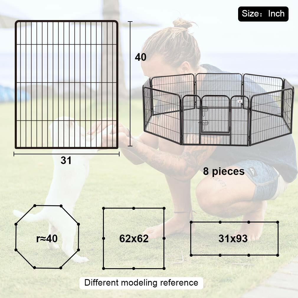 "BestPet 40"" 8 Panel Heavy Duty Pet Playpen Dog Exercise Pen Cat Fence Dog Supplies"