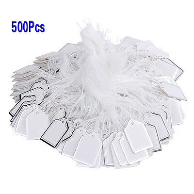 500x Price Tags W Strings Hanging Rings Jewelry Sale Display White Silver T1