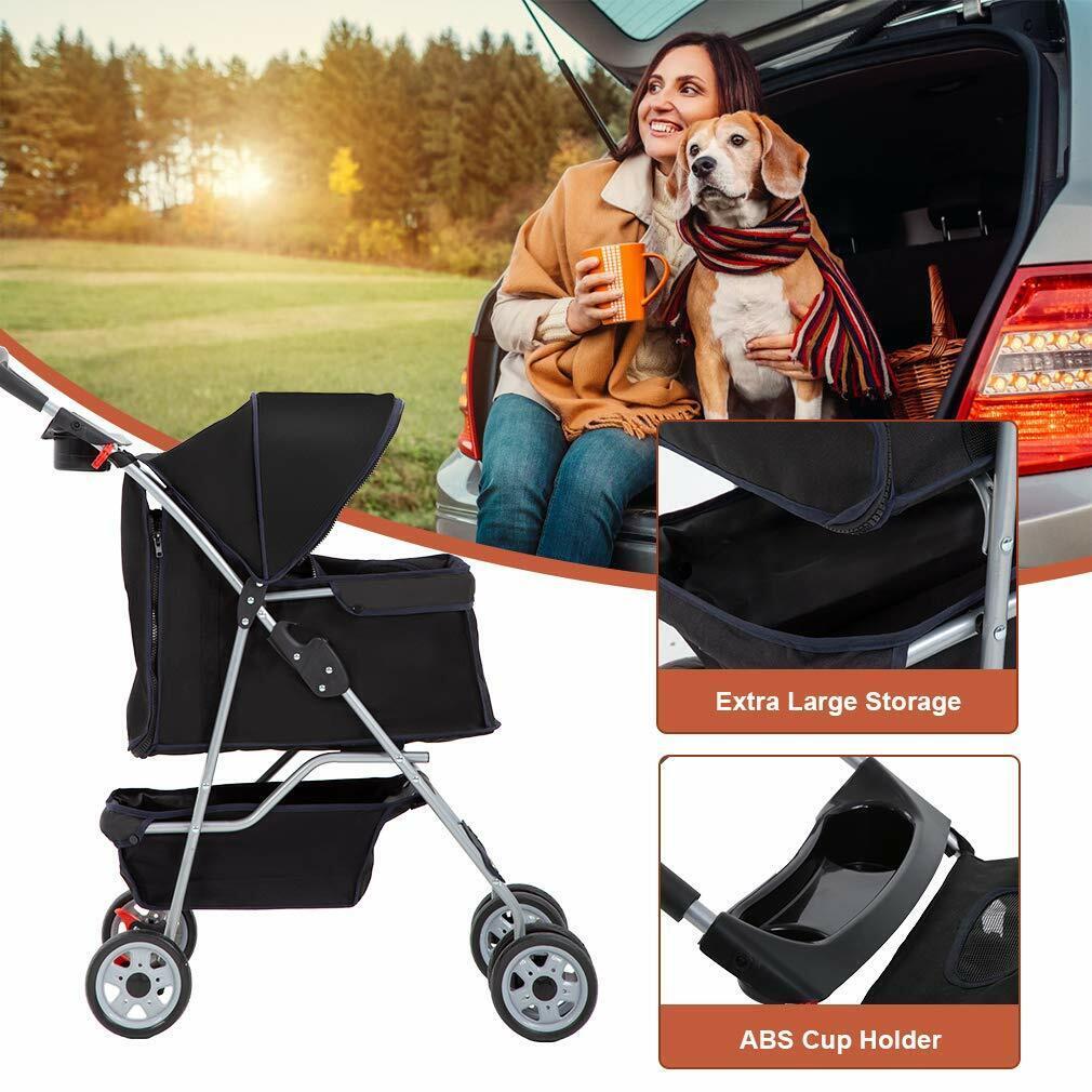 4 Wheels Pet Stroller Cat Dog Cage Stroller Travel Folding Carrier 5 Color 04T Dog Supplies