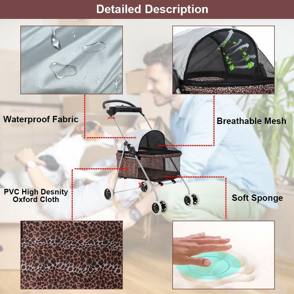 New Leopard Skin BestPet Cute Posh Pet Stroller Dogs Cats w/Cup Holder Dog Supplies