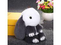 Real copenhagen rabbit fluffy fur pom pom charm ,key chain , bag ,car accessories