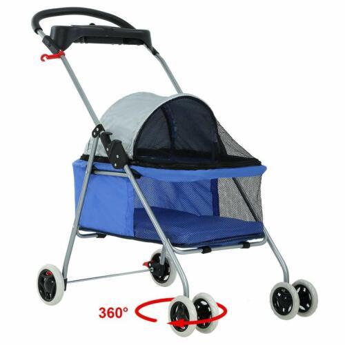 New Blue BestPet Cute Posh Pet Stroller Dogs Cats w/Cup Holder