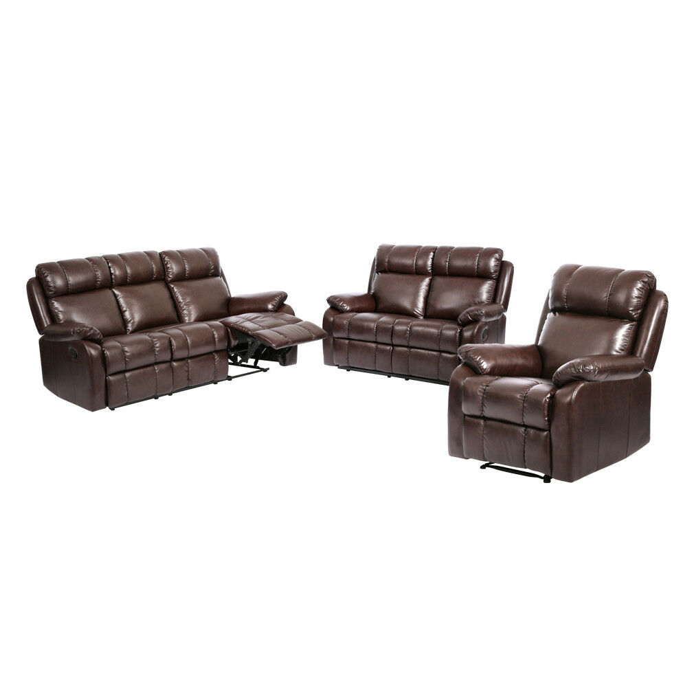 Brown Reclining 3pc Sofa Set Loveseat Recliner Console W Cup Holder Couch For Online Ebay