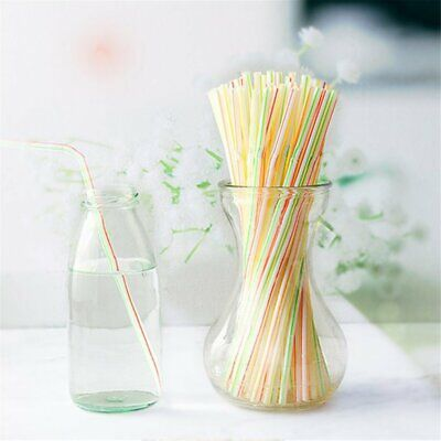 100 Pcs Flexible Plastic Solid White Disposable Drinking Straws#^