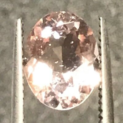 Natural 1.52 Carat Morganite Oval Cor De Rosa Genuine Loose Gemstone Peachy Pink