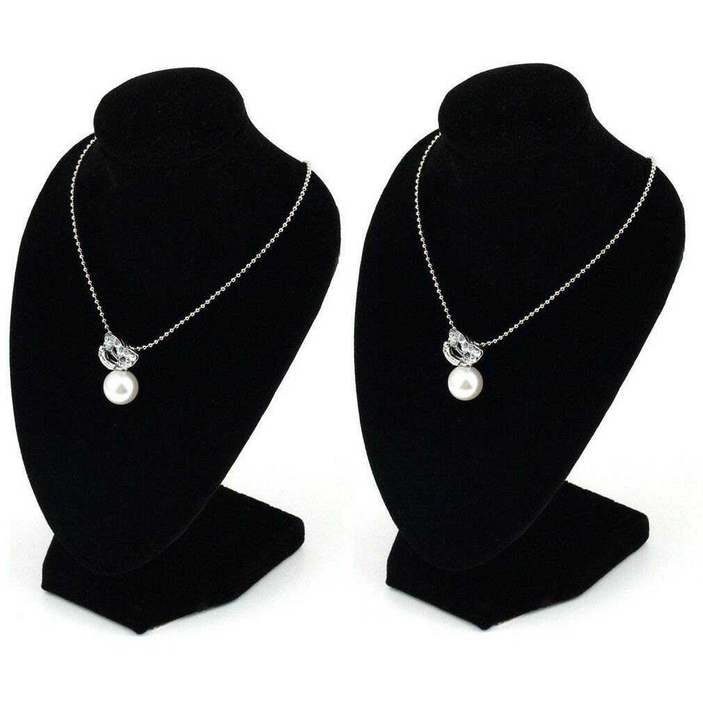 Jewellery - 2 x Jewellery Necklace Chain Display Pendant Bust Velvet Holder Show Stand Chain