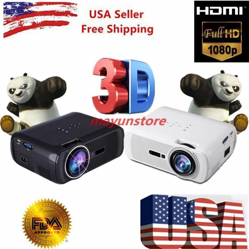 7000 Lumens Full HD 1080P LED LCD 3D VGA HDMI TV Home Theater Projector