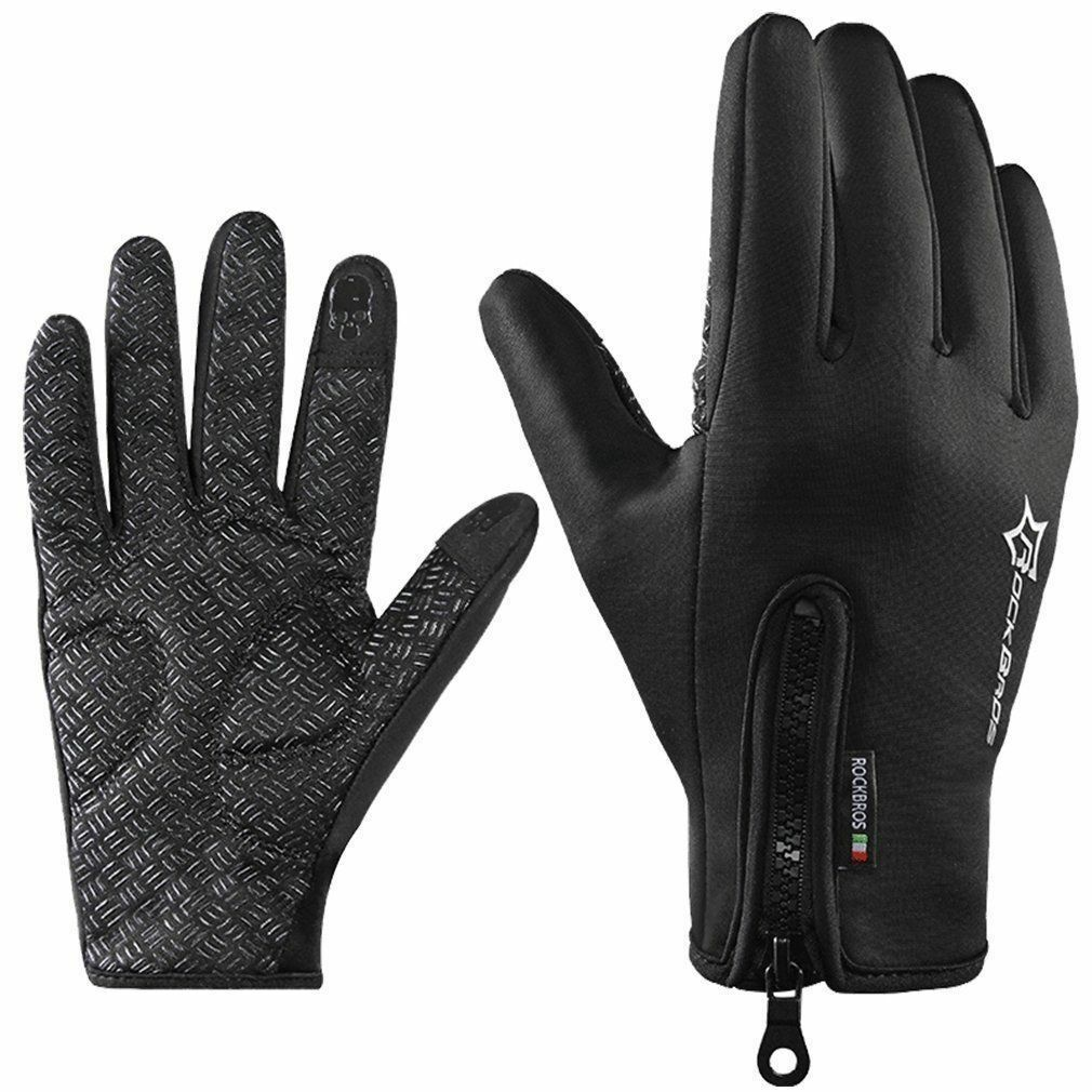 RockBros Cycling Winter Thermal Warm Touch Screen Black Full Finger Sport Gloves