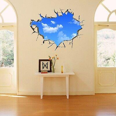 3D BlueSky Broken Floor Ceiling Removable Wall Stickers Art Vinyl Decals ZM 17